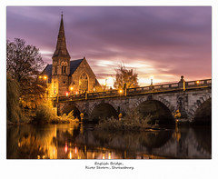 English Bridge. (Zero-Six-Four Images (Dave McCulley)) Tags: church steeple tree riversevern water flowing longexposure lights lowpov shrewsbury shropshire westmidlands morning sunrise englishbridge stone arch