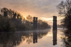 Dowles Bridge (Philip Moore Photography) Tags: riversevern river sunrise bridge disused towers mist autumn reflections bewdley dowles railway