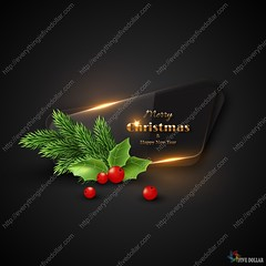 Christmas banner with transparent glass. (everythingisfivedollar) Tags: merry christmas holiday xmas glossy berry holly new year background vector design abstract fir tree frame party border winter art decoration illustration celebration branch greeting tradition card wreath symbol happy season realistic 3d day sign realisitic banner glass gold black glow glowing pinecone element decorative luxury transparent december newyear leaf