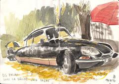 171119DS23Pallas (Vincent Desplanche) Tags: croquis sketch sketchbook sketching urbansketchers usk uskfrance watercolor aquarelle carandache neocolor neocolorii rendezvouscarnetsdevoyages ifav clermontferrand tazab cebazat ds23pallas citroends citroen