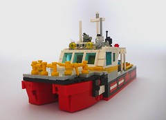 MFB Fire Boat 1 (Lonnie.96) Tags: metropolitan fire brigade service emergency boat outboard twin hull melbourne port stern red white yellow black people personnel hose monitor ring tube line lights handle ladder vessel float water lego brick moc custom 2017 victoria australia build day night rescue responce light quick