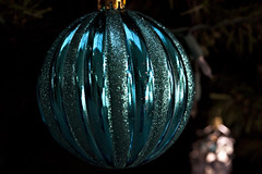 Christmas In Turquoise (dleany) Tags: 100mmf28l 5dmkii macro christmas ornament turqoise bokeh