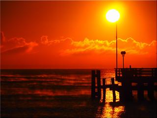 Sunrise on the Baltic Sea coast in Haffkrug