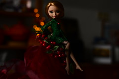 it´s that time of year again (jessandgrace) Tags: doll portrait colorimage colors backgroundblur bokeh green red figure face legs dress crochet handmade dollclothes eyes greeneyed hair ginger blonde golden ashlynnella everafterhigh eah pretty beauty glamour cute indoor