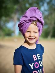 Purple (B-Lichter) Tags: olympus pen epl7 mzuiko 4518 portrait girl smile summer towel turban purple child