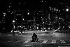 Alone in Trumps America (rvrossel) Tags: chicago homelessman trumptower chicagonights countryindistress donaldtrumpisajoke chicagoisgreat chicagoisgotham nightlights illinois usa cold night fujixt10 fujixseries fujixf23mmf14 fujilove fujishooters blackandwhite bw noiretblanc blancoynegro america