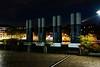 im Mediahafen in Köln (gabrieleskwar) Tags: outdoor licht schatten abends köln mediahafen beleuchtung dunkel farbe formen herbst innenhafen nrwgermany park umrisse bunt blätter steine architektur