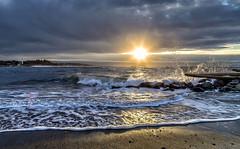 (Paul Rioux) Tags: seascape seashore seaside sunrise morning daybreak ocean sea water waves surf foam prioux clouds rays explored