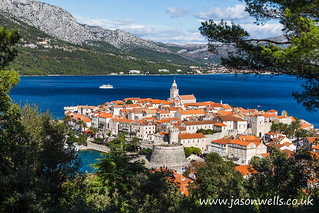 Framing Korcula old town in the trees