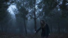 Isolation and dispair (Andrea · Alonso) Tags: me selfportrait autorretrato woods bosque wood forest niebla fog foggy atmosphere mood girl chica portrait retrato