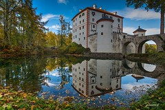 Castle Sneznik in Slovenia (zkbld) Tags: castle sneznik grad notranjska carniola kranjska slovenia europe centraleurope dinaricalps dinarides hdr nature season tranquility travellocations vacations tradition ecology environmental preservation autumn trees forest grass color medieval history water stream pond