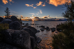 Tahoe sunset (Middle aged Nikonite) Tags: lake tahoe sand harbor california landscape nature vista sunset color water rocks clouds outdoor nikon d750 sky rock