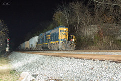 CSX A703 at North Emerson (travisnewman100) Tags: csx train railroad freight manifest local a703 emd sd403 long hood forward lhf solo north emerson control point atlanta division wa subdivision flash photography