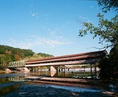 Harpersfield Covered Bridge (Sassenach5) Tags: coveredbridge ashtabulacounty pentax67 pentax supertakumar6x7 6x7 kodakektar100 kodak 120film analog americana colornegativefilm fall autumn outdoors nature northeastohio