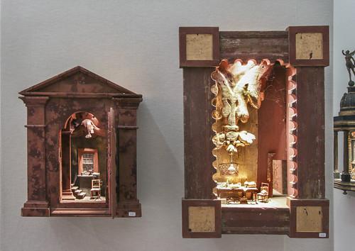 Box art by Peter Gabriëlse exhibition booth at Antica Namur Fine Art Fair