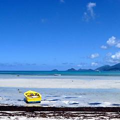Yellow Boat - Seychelles (pom.angers) Tags: panasonicdmctz3 february 2008 portglaud seychelles sea ocean indianocean boat 100 300 200 africa island 400