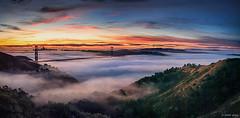 Golden Gate Dawn (Explored) (Joseph Greco) Tags: goldengatebridge sanfrancisco fog bridge morning dawn sunrise marinheadlands landscape panorama vista clouds dramaticsky misty