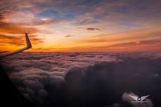 Sunset over the left winglet