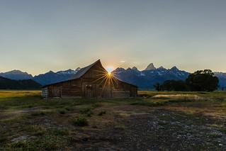 Moulton Barn during sunset