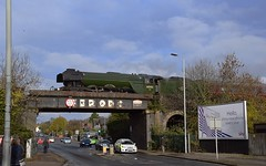 Flying Scotsman 60103 coasting over the 'Ferodo' Bridge on Norwich Road, Ipswich, on the return leg of the tour from Norwich to Norwich, via Ipswich. 11 11 2017 (pnb511) Tags: flyingscotsman 60103 a3 pacific 462 loco locomotive steam train engine icon iconic bridge road railway cars police ferodo brakes bus
