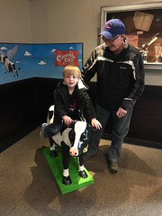 """Paul Rides a Cow at Colonial Cafe with Grandpa Miller • <a style=""""font-size:0.8em;"""" href=""""http://www.flickr.com/photos/109120354@N07/37662297824/"""" target=""""_blank"""">View on Flickr</a>"""