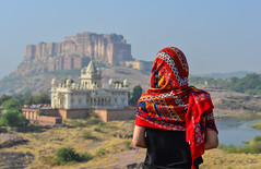 Young woman standing on the hill (phuong.sg@gmail.com) Tags: amazing ancient archaeology art asia attraction beautiful brick buddha buddhism buddhist conservation culture destination fascinate field glory great heritage history india jodhpur journey kingdom landscape monument old outdoor pagoda rajasthan religion restoration sacred seeing sight southeast spiritual stupa temple tour travel view wide worship
