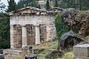 Rainy day at the Delphi Archeological site, Greece. Treasury of the Athenians (adamkmyers) Tags: delphi archeologicalsite templeofathena archeology greece