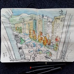 Vue du 5ème  #sketch #urbansketchers #Grenoble (dege.guerin) Tags: instagramapp square squareformat iphoneography uploaded:by=instagram