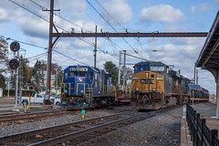 Meet at West Trenton, NJ (Darryl Rule's Photography) Tags: buckscounty csx csxt catenary clouds cloudy diesel diesels emd eastbound freight freightcar freighttrain freighttrains ge heacockrd mixedfreight oxfordvalley pa pennsylvania q403 q404 railroad railroads rebuild septa sun sunny train trains trentonsub westtrenton westbound wiretrain