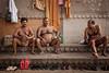 Bathers in Varanasi (puuuuuuuuce) Tags: india ghat bathing varanasi
