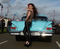 Holly_7814 (Fast an' Bulbous) Tags: chevy chevrolet classic american girl woman hot sexy pinup model long brunette hair high heels stiletto shoes leopard print pvc leather leggings people outdoor santapod car vehicle automobile