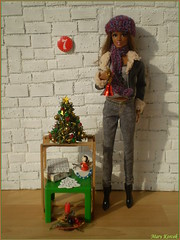 7.advent day - advent calendar with dolls 2017 (Mary (Mária)) Tags: christmas christmastree advent 2017 christmastime candlestick ornaments bell barbie mattel pazette thelook cityshine style stardoll fashion photography photoshoot handmade marykorcek diorama miniatures december dollphotography