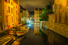 Boats wrapped up for the Night (Tony Shertila) Tags: bruges brugge dijver architecture bluehour bridge brussels building city cityscape europe belgium night outdoor canal water sky reflection cobbles 20170830214812