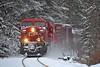 CP 9782 Kickin Up Snow (ERIE1960) Tags: railroad railfan locomotive canadianpacific delawareandhudson freighttrain newyorkrailroads ge ac4400 westportny adirondacks
