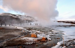 Geysir Geothermal Area, Iceland, within the Haukadalur Valley. (One more shot Rog) Tags: icelandic ice temperature hot boiling geysirs geysir spouting spouts bursts steaming steams steam smoky smoke smoking geothermal hotsprings haukadalurvalley haukadalur strokkur strokkurgeysir