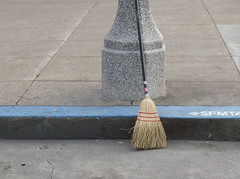 A15570 / street sweeper (janeland) Tags: sanfrancisco california 94102 civiccenter ongrey primarycolors broom concrete pavement bluecurb february 2017 sculpturetrouvée