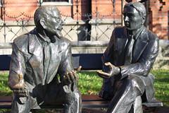 011 (JirkaVorel) Tags: krakow poland sculpture mathematicians conversation city discussion