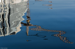 Building crane (NikonStone (on and off)) Tags: nikon d7100 crane oslo blue mirror abstract fuzz reflection reflections