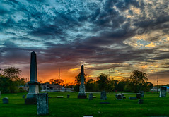 Dying to see a good sunset (tquist24) Tags: cemetery goshen hdr indiana nikon nikond5300 oakridgecemetery clouds color evening geotagged grass graveyard orange sky sunset tombstone tree trees unitedstates