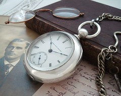 Men's large 18 size sterling silver open-faced key-wind, key-set Elgin pocket watch with chain and key, circa 1885. (stricklandvintagewatches) Tags: pocket watch antique vintage timepiece mens fashion elgin chain 1800s horology