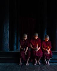 Three Novice Monks from the Shwekyin Monastery (Mandalay, Myanmar 2013) (Alex Stoen) Tags: 1dx alexstoen alexstoenphotography burma canon canoneos1dx geotagged myanmar natgeo nationalgeographicexpeditions travel vacation yangon