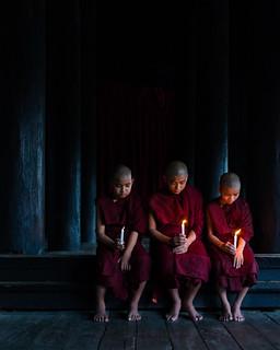 Three Novice Monks from the Shwekyin Monastery (Mandalay, Myanmar 2013)