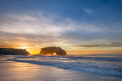 Morning lights (FollowingNature (Yao Liu)) Tags: lightsonwaves ngc beach rock statepark followingnature waves light sunrise santacruz naturebridge