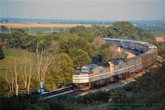 (SEE & HEAR)---AMT 237, Edelstein, IL 6-12-91 (jackdk) Tags: train railroad railway locomotive emd emdf40 amtrak amtrak3 train3 passengertrain passenger santafe edelsein edelseinhill edelsteinillinois desertwind seeandhear seehear