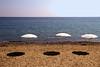 Voglio l'estate tutto l'anno (meghimeg) Tags: 2017 imperia mare sea cielo sky ombrelloni umbrella ombra shadow sole sun barca boat spiaggia beach sabbia sand acqua water