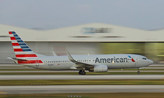 Pan American (Treflyn) Tags: waiting miami airport mia connecting flight shutter speed panning panned pan shot american airlines boeing 737800 n910an 125 take off oranjestad aruba fading light