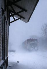Into the falling snow (Moffat Road) Tags: sooline trainno498 498 brookfielddepot station depot brookfield snow train railroad wisconsin wi caboose snowstorm