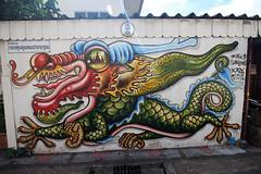 20- Day 8- graffiti outside Wat Arun temple- 2 (_gem_) Tags: travel bangkok thailand asia southeastasia graffiti streetart city street urban dragon