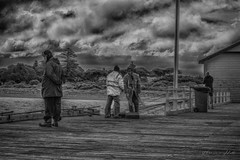 Fishermen (Theresa Hall (teniche)) Tags: 1december2017 2017 australia bellarinepeninsula canberra december queenscliff queenscliffpier queensclifflighthouse teniche theresa theresahall victoria beach boardwalk creative firstdayofsummer fishing jetty landscape pier summer blackandwhite twotone contrast