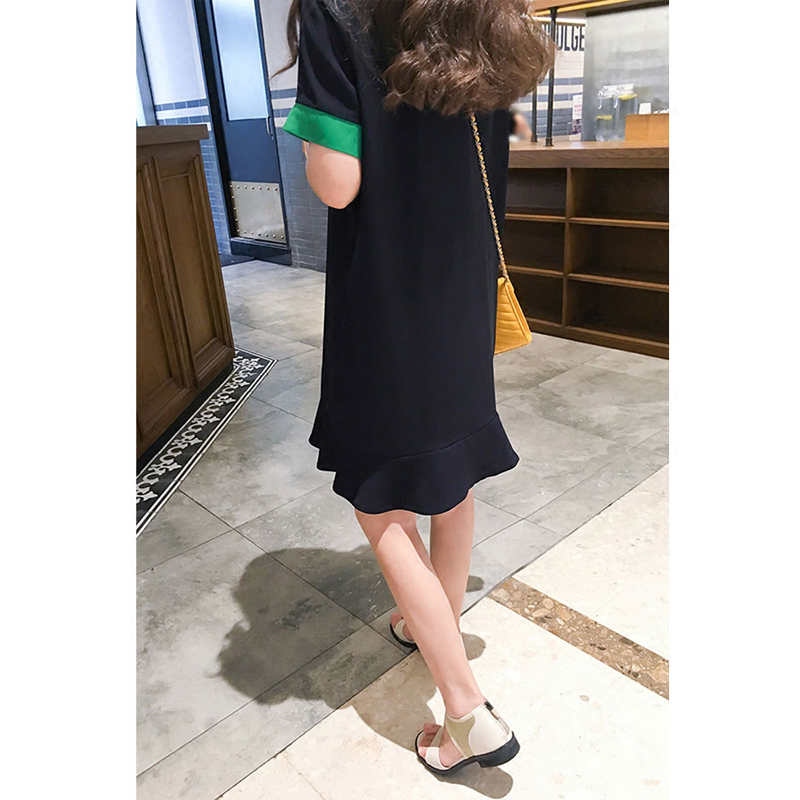 Female students dress in summer 2017 new Korean thin loose temperament wind leaf edge Polo neck dress institute